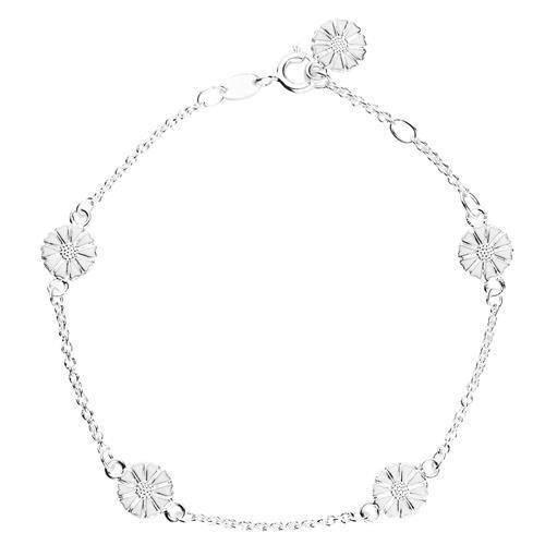 002dff71e7d Lund Marguerit armbånd i sølv med hvid emaljeret 7,5 mm blomster ...